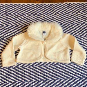 Janie & Jack faux fur trim ivory holiday sweater